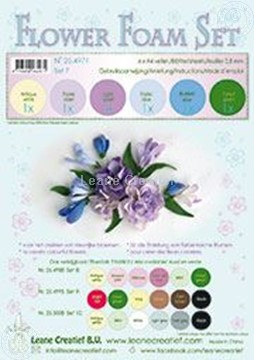 Afbeeldingen van Flower foam set 7 pastel blue/violet