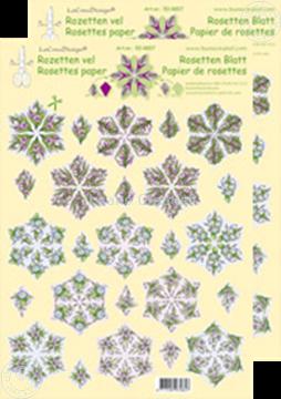 Afbeeldingen van Rozetten knip- en snijdvellen Bloemen rood/blauw