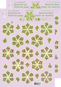 Afbeeldingen van Rozetten knip- en snijdvellen Bloemen groen/geel