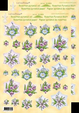 Afbeeldingen van Rozetten Pyramid vel Bloemen roze/blauw
