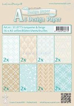 Afbeeldingen van Design papier Turquoise & Beige A5