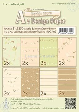 Bild von Design Paper Music salmon/green/brown