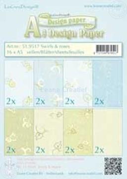Bild von Design Bogen Swirls & Roses A5
