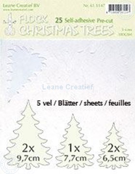 Afbeeldingen van 25 white Flock trees pre-cut & self-adhesive