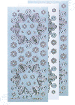 Picture of Christmas stickers Pearl blue silver snowflake