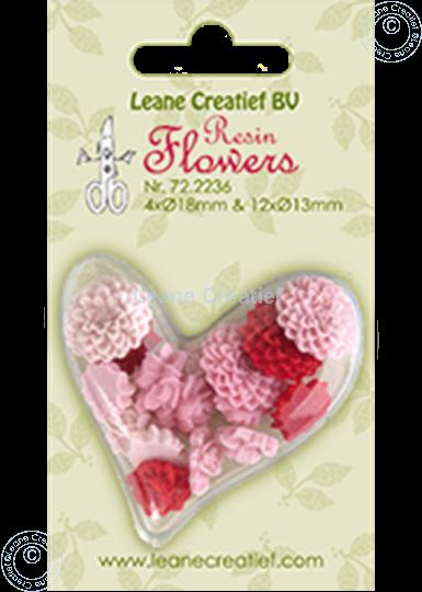 Afbeelding van Resin flowers roses&peony pink/red