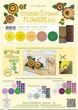 Afbeeldingen van Sticker &  Foam Flowers Set 4 geel