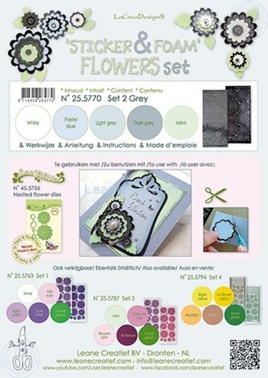 Picture of Sticker &  Foam Flowers Set 2 Grey