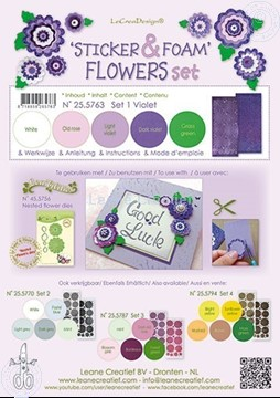 Bild von Sticker & Foam Blumen Set 1 Violett