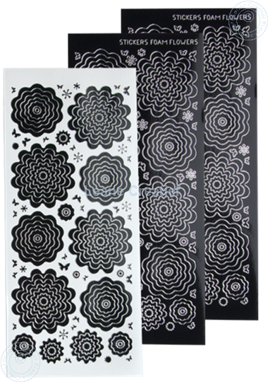 Leane Creatief Uitgeverij Bv Nested Flower Peel Offs Black Silver