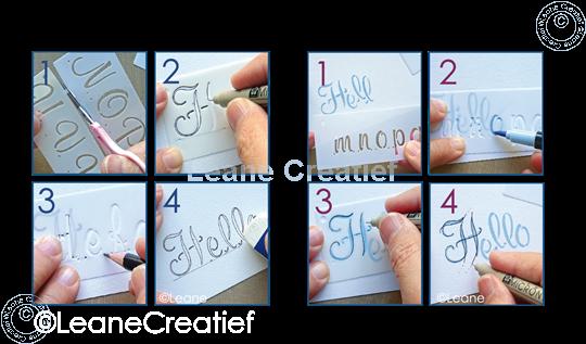 Image sur 2 Pochoirs pour Handlettering Alphabet  1, lettres majuscule + lettres minuscule +chiffres
