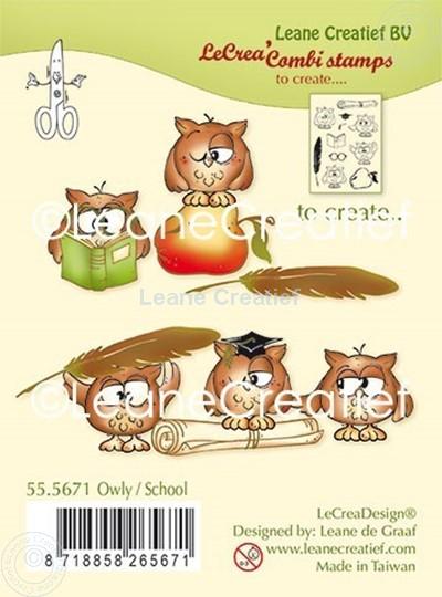 Afbeelding van Combi clear stamp Uil - School