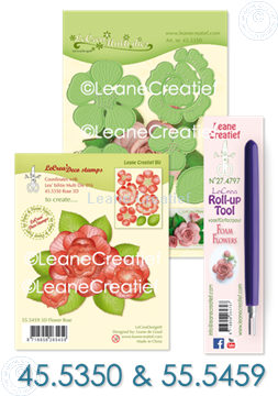 Afbeeldingen van Set Multi die & Clearstamp Rose & Roll-up tool