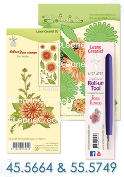 Afbeeldingen van Multi die & Clearstamp Chrysant & Roll-up tool
