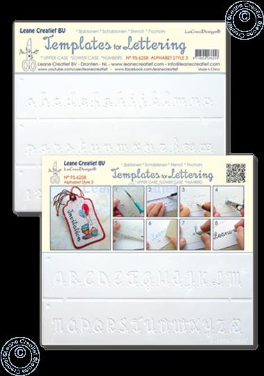 Image sur 2 Pochoirs pour Handlettering Alphabet  Nº 3, lettres majuscule + lettres minuscule + chiffres