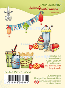 Afbeeldingen van LeCreaDesign® combi clear stamp Party & snacks