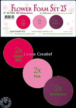 Afbeeldingen van Flower Foam set 23 /6x A4 vel /3 tinten Bordeaux