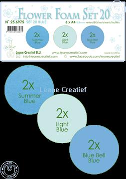Afbeeldingen van Flower Foam set 20 /6x A4 vel /3 tinten Blauw