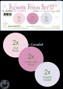 Afbeeldingen van Flower Foam set 17 /6x A4 vel /3 kleuren Pastel 2