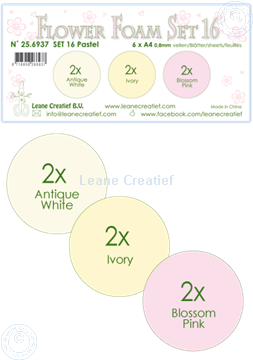Afbeeldingen van Flower Foam set 16 /6x A4 vel /3 kleuren Pastel 1