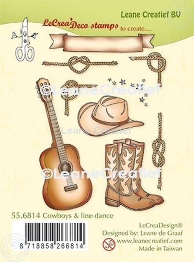 Bild von LeCreaDesign® Kombi Silikon Stempel Cowboys und Line tanzen
