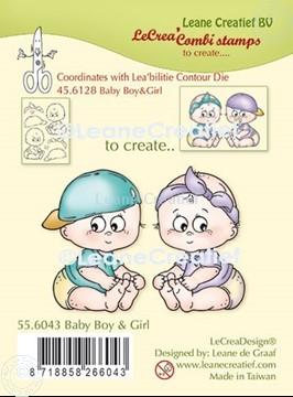 Afbeeldingen van LeCreaDesign® combi clear stamp Baby jongen en meisje
