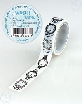 Afbeeldingen van Washi tape Horloge & alarm klok, 15mm x 5m.