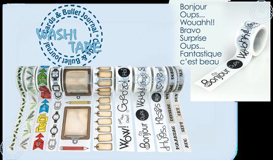 """Bild von Washi tape Französische Wörter 1 """"Bonjour…"""" 25mm x5m."""