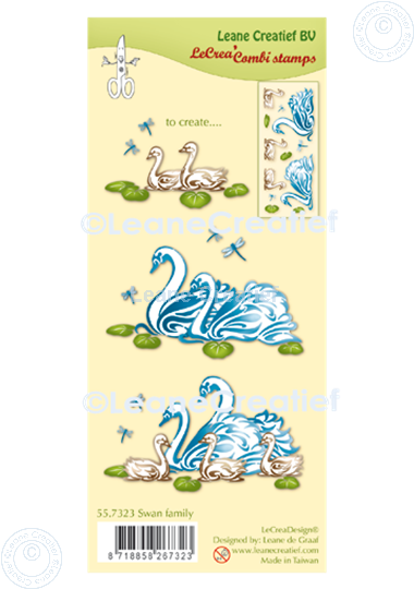 Afbeelding van LeCreaDesign® combi clear stamp Zwanen familie