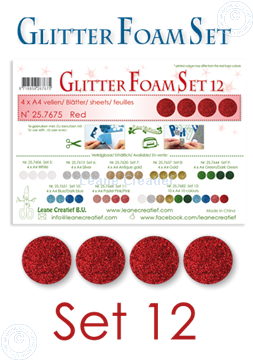Image de Glitter Foam set 12, 4 feuilles A4 Rouge